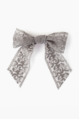 Silver Lace Bow Barrette