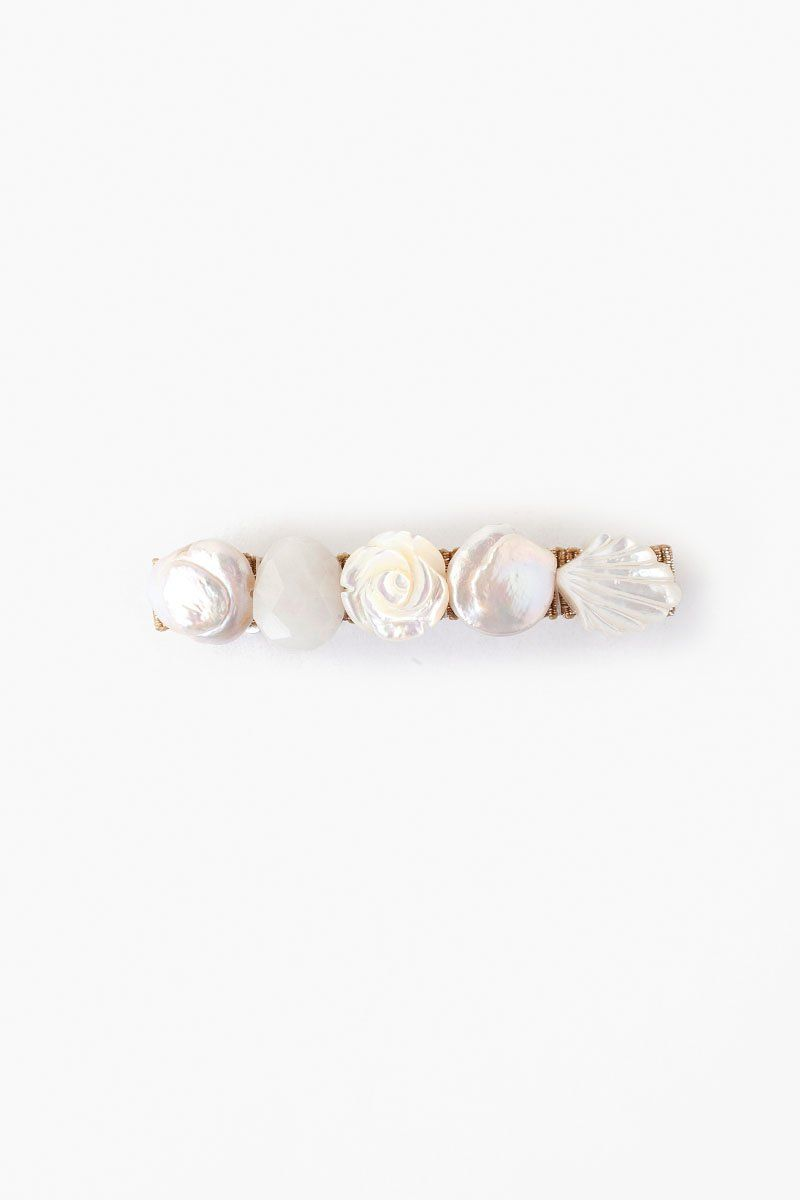 White Pearl Mix Barrette