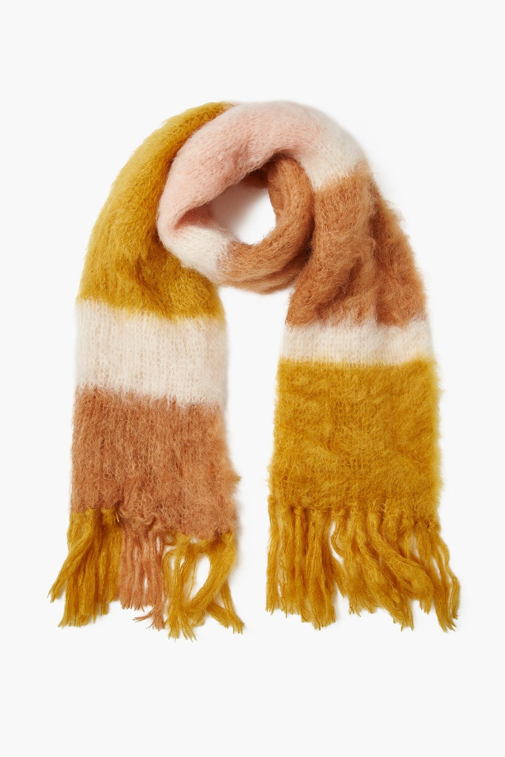 Chai Tea Color Block Mohair Scarf