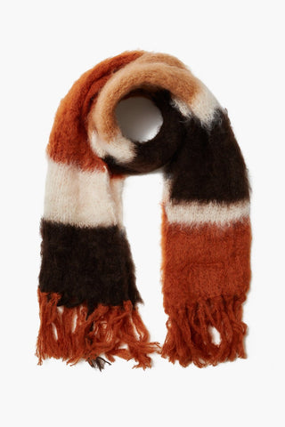 Gingerbread Color Block Mohair Scarf