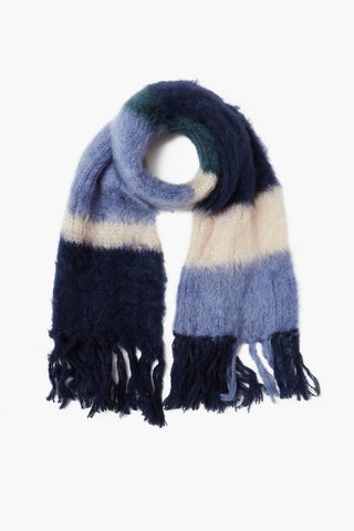 Navy Blazer Color Block Mohair Scarf