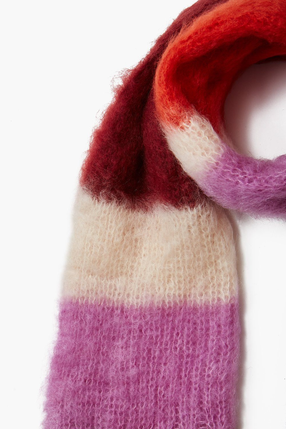 Pomegranate Color Block Mohair Scarf