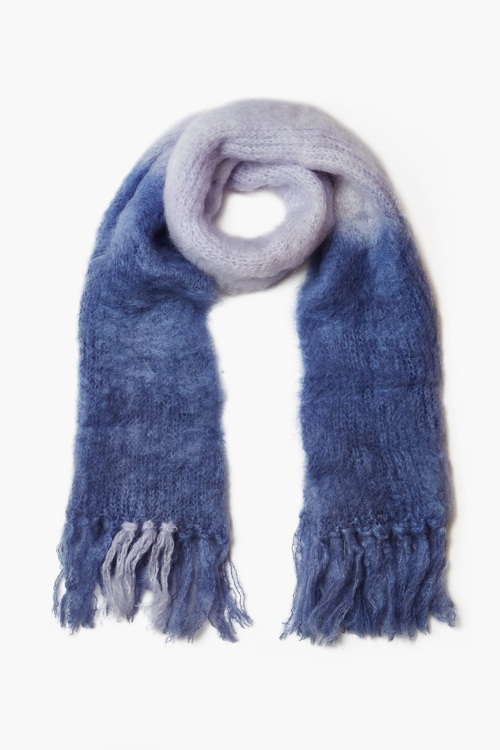 Blue Ice Dip-Dyed Mohair Scarf