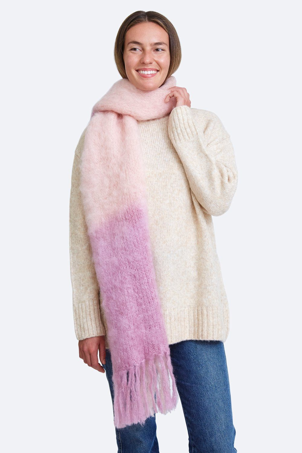 Lilas Dip-Dyed Mohair Scarf