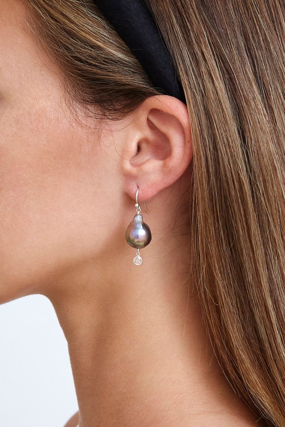 Baroque Champagne Pearl and Diamond Teardrop Earrings
