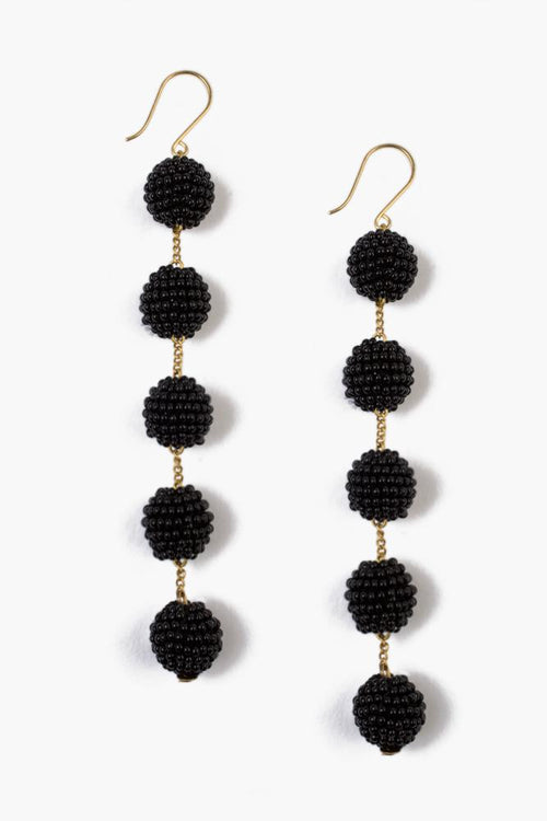Black Tier Small Pom Pom Earrings