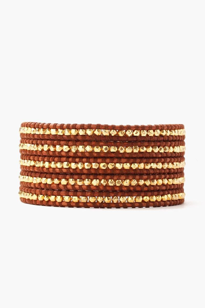 Gold Nuggets Five Wrap Bracelet on Natural Brown Leather