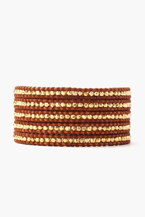 Gold Wrap Bracelet on Natural Brown Leather