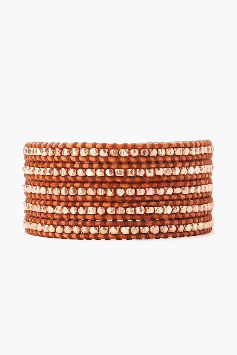 Rose Gold Wrap Bracelet on Natural Brown Leather