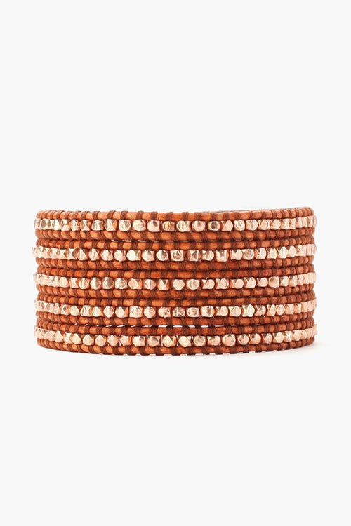 Rose Gold Nuggets Five Wrap Bracelet on Natural Brown Leather