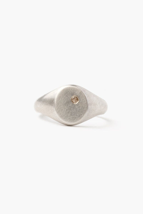 Silver Signet Oval Diamond Ring