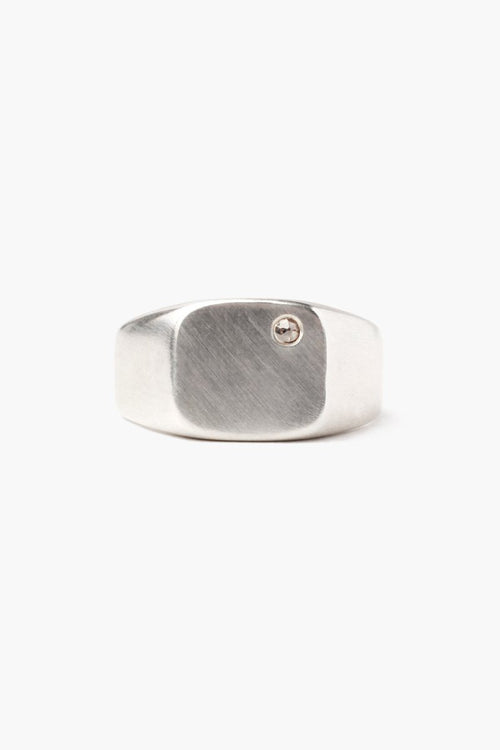 Silver Signet Square Diamond Ring