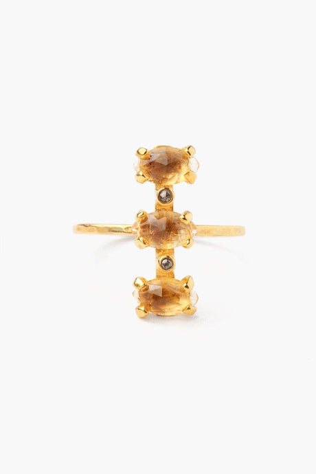 Citrine Stacked Diamond Ring
