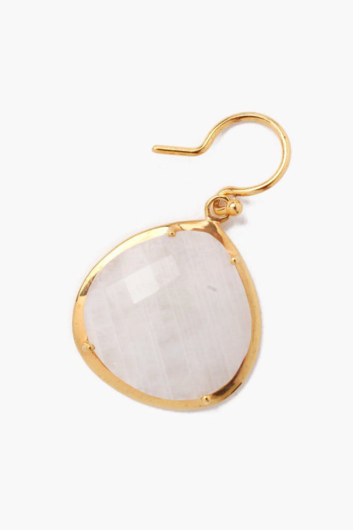 Moonstone Slice Statement Earrings