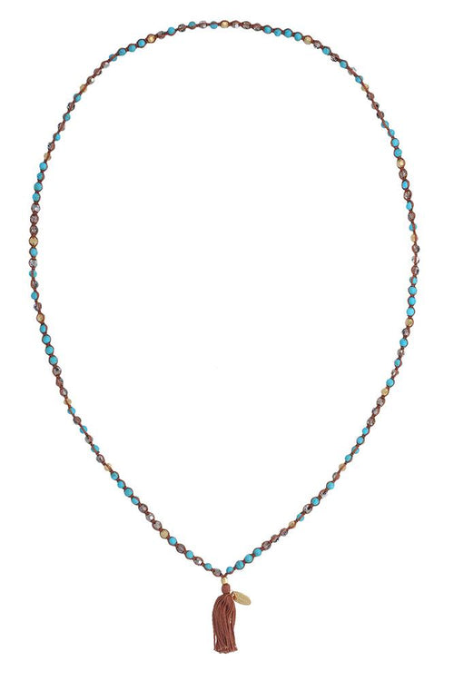 Turquoise Mix Cotton Cord Necklace