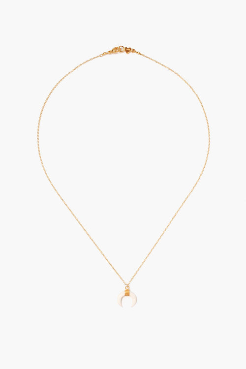 White Bone Horn Delicate Gold Short Necklace
