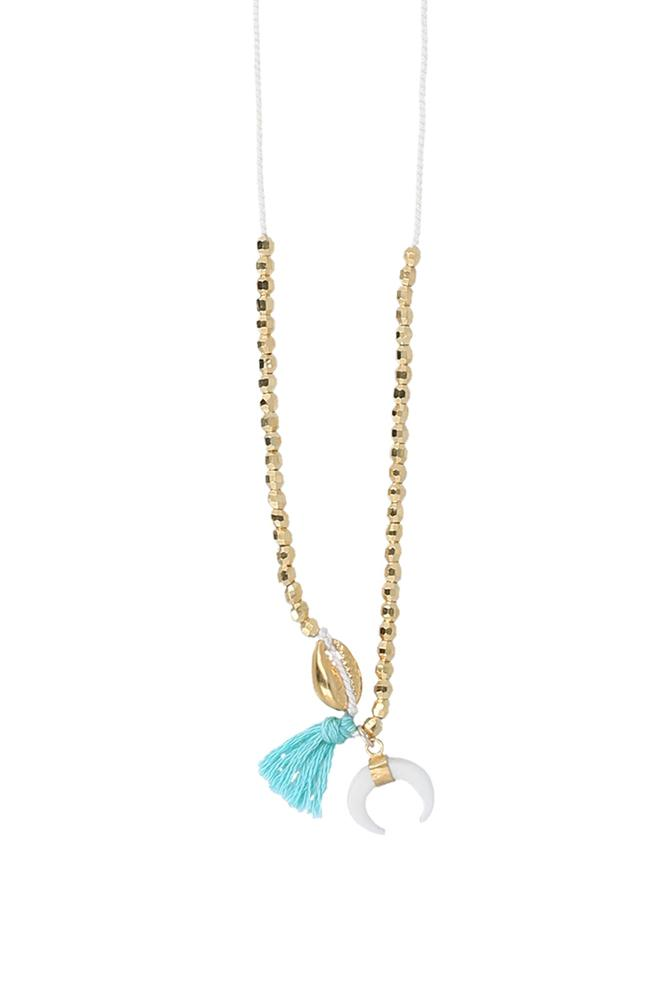Aqua Sea Tassel Necklace with White Bone Horn Charm