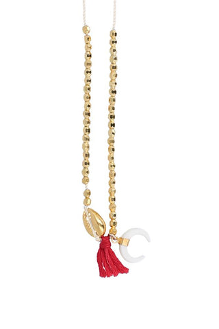 Red Tassel Gold with White Bone Horn Charm Necklace