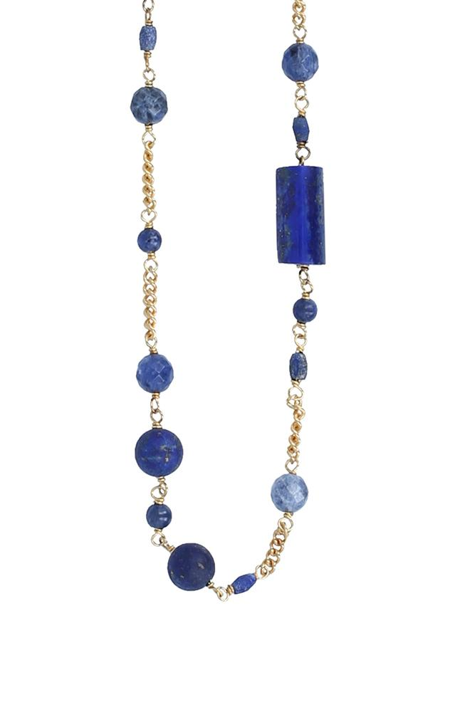 Matte Lapis Mix Layering Chain Necklace