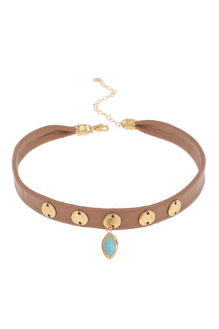 Moonstone Choker on Light Brown Leather
