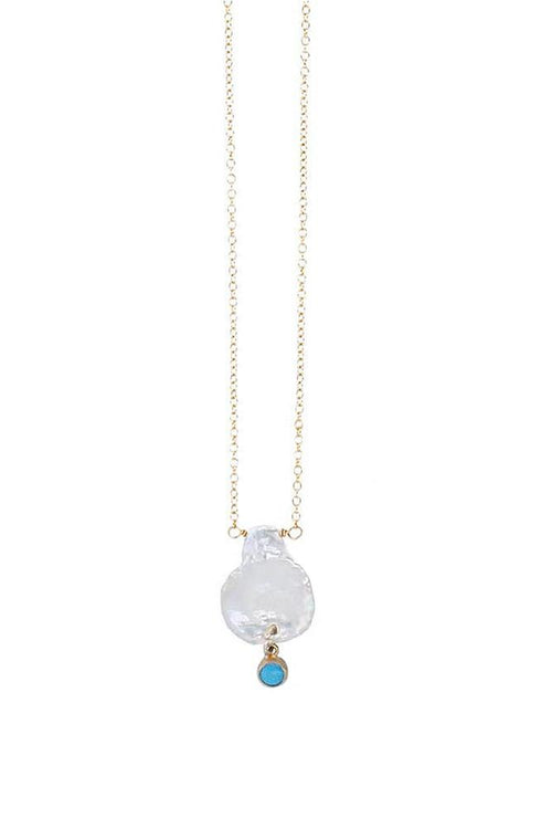 Turquoise and Pearl Delicate Gold Necklace