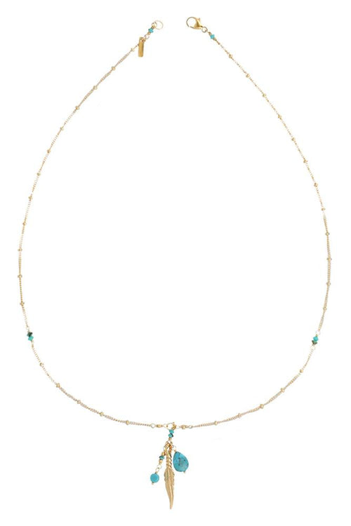 Turquoise Drop and Feather Short Necklace