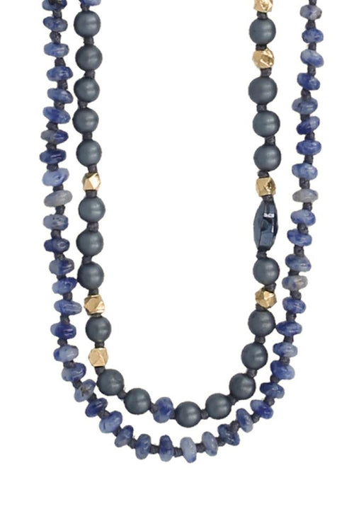 Sodalite Mix Double Strand Layering Necklace