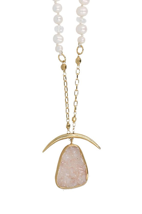 White Mix Agate Pendant Horn Necklace