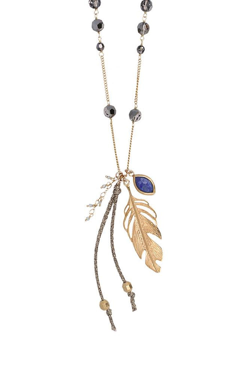 Silver Night and Feather Pendant Necklace