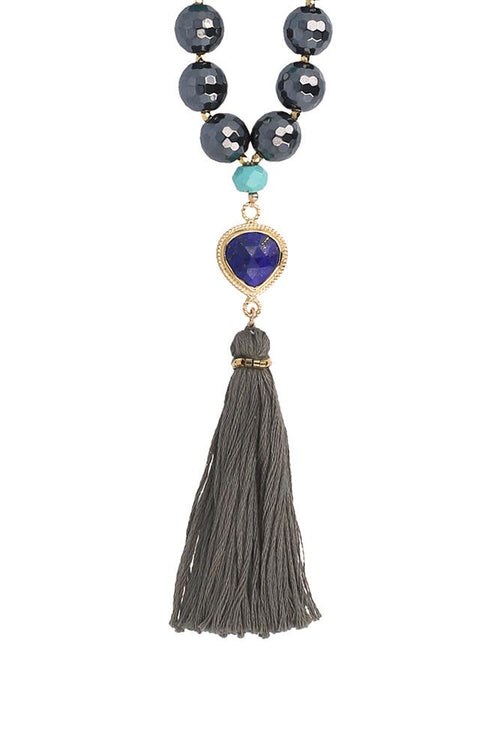 Hematite Mix Tassel Necklace