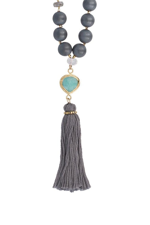Matte Hematine Mix Tassel Necklace