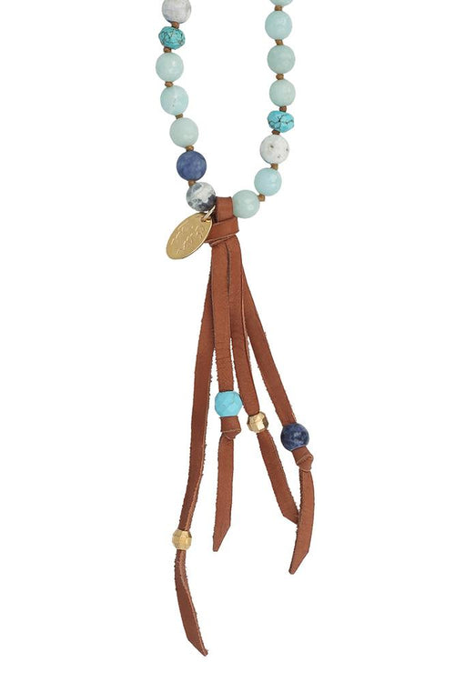 Turq Mix Leather Fringe Necklace