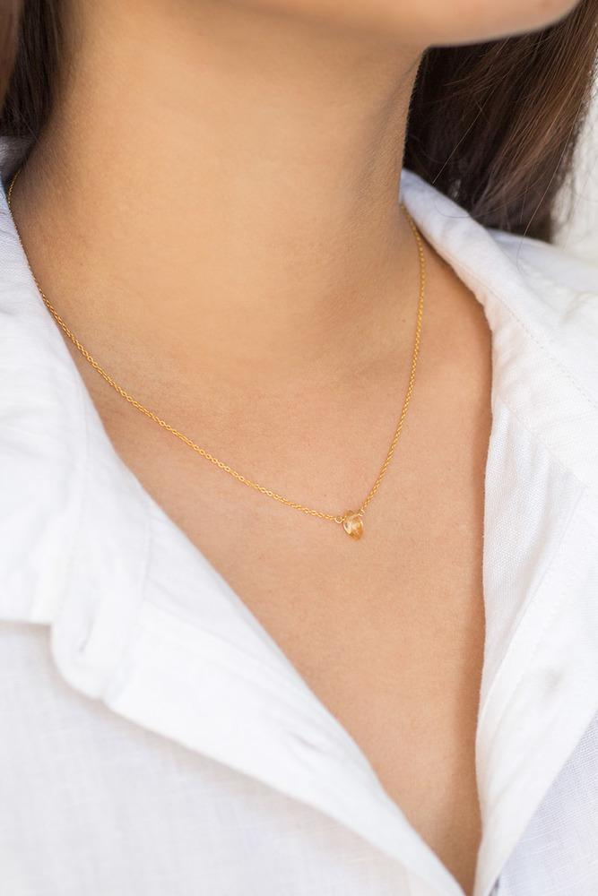 Citrine Mini Drop Necklace