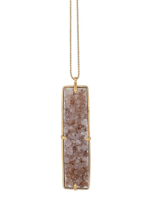 Natural Tan Agate Rectangle Pendant Necklace