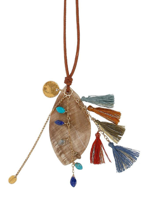 Multi Mix Charm and Tassel Necklace