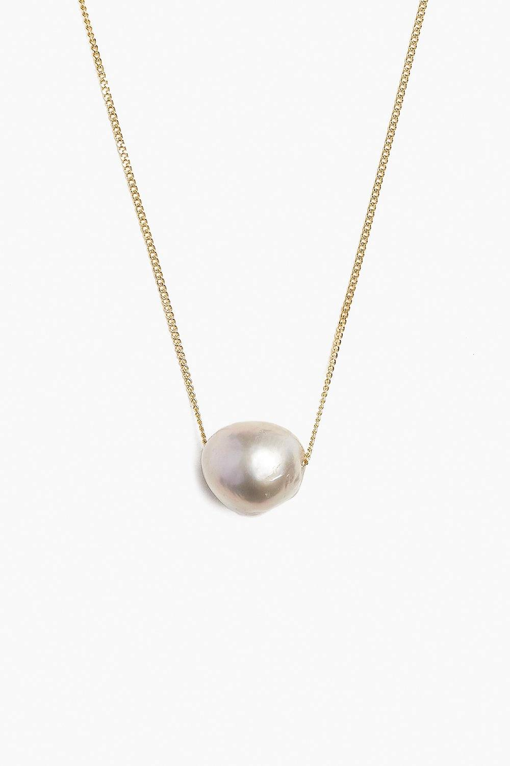 Grey Floating Pearl Short Necklace