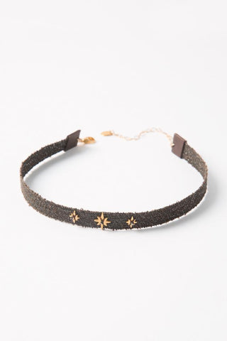 Black Golden Sunstone and Sliced Diamond Short Necklace