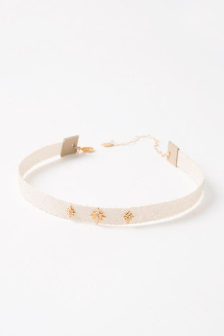 Cream Mokuba Star Choker