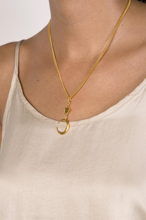 Yellow Gold Short Moon Crescent Pendant Necklace