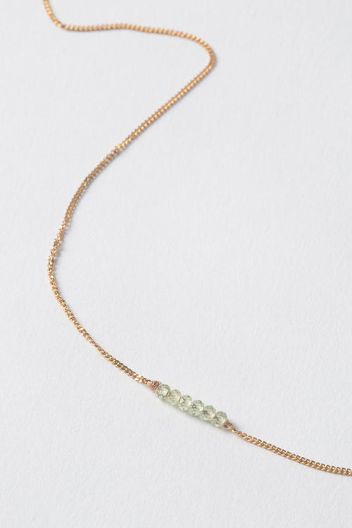August | Peridot Delicate Necklace