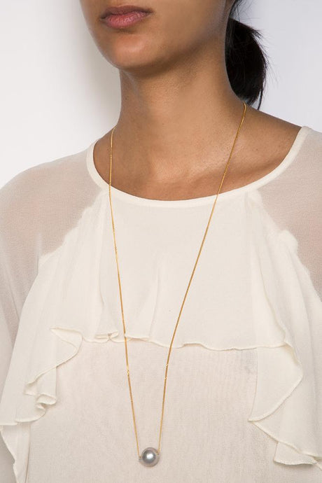Grey Pearl Long Floating Necklace