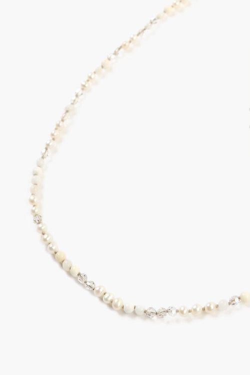 White Mix Beaded Layering Necklace