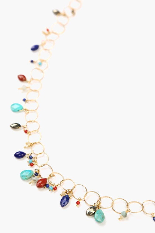 Multi-Stone Mix Chain Layering Necklace