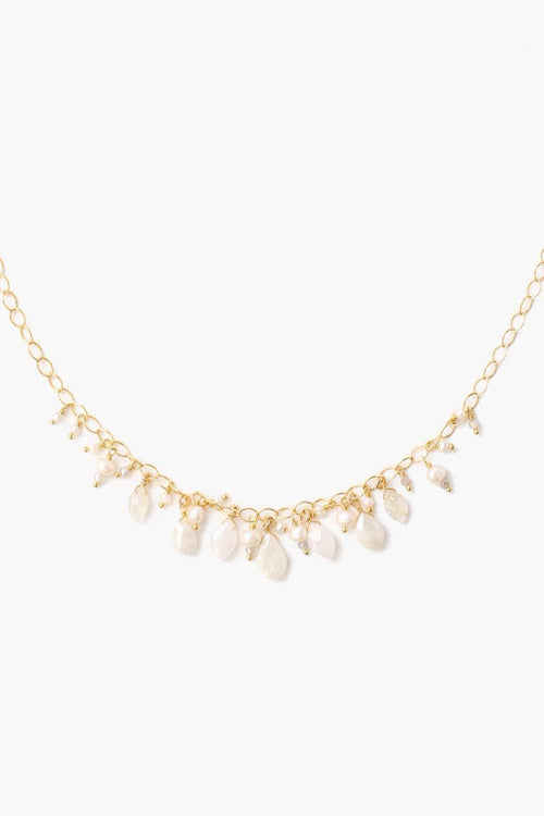 White Mix Stone Pearl Short Necklace