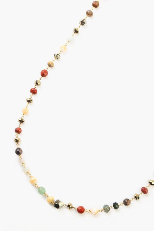 Multi-Colored Semi-Precious Stone Layering Necklace