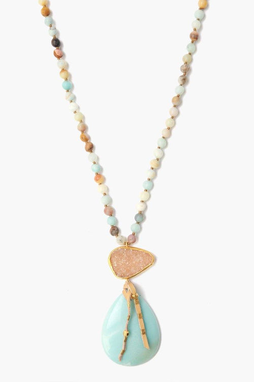 Matte Multi-Amazonite Mix Pendant Necklace