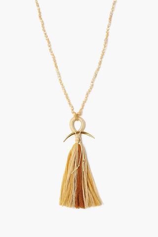Natural Mix Horn And Tassel Layering Necklace