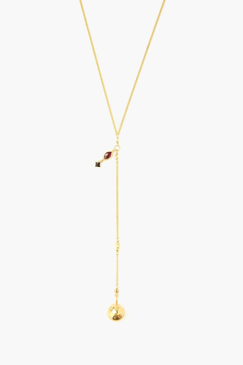 Garnet Mix Marquise Y Necklace