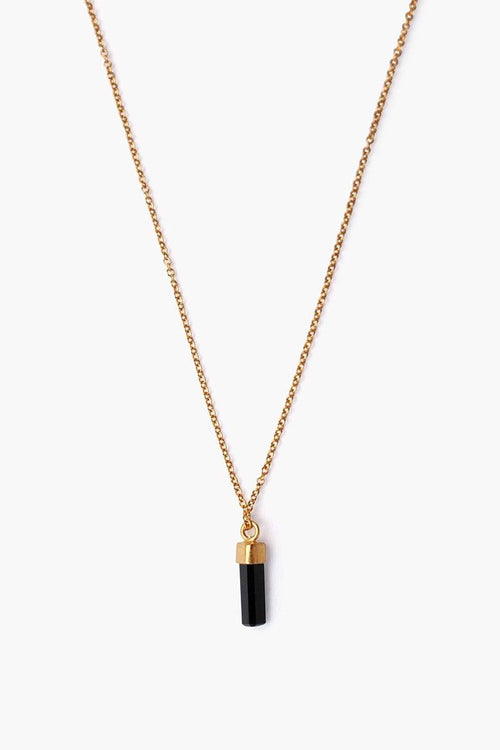 Onyx Baguette Pendant Necklace