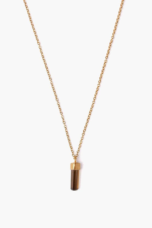 Whiskey Quartz Baguette Pendant Necklace